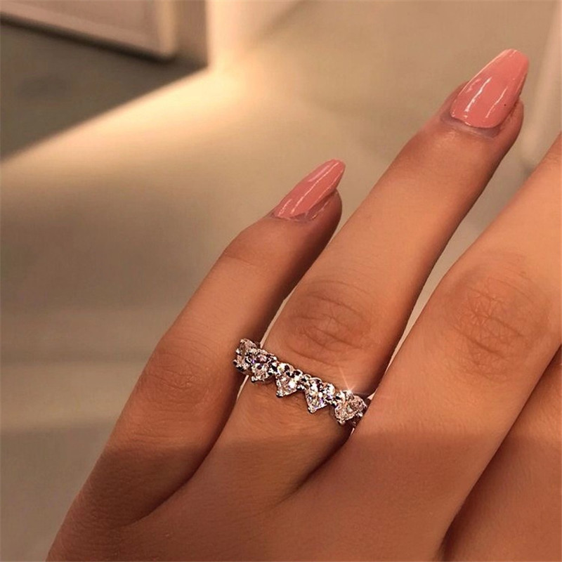 2020 Fashion Classic Cubic Zirconia Jewelry Love Heart Rhinestone Rings Bridal Promise Wedding Ring