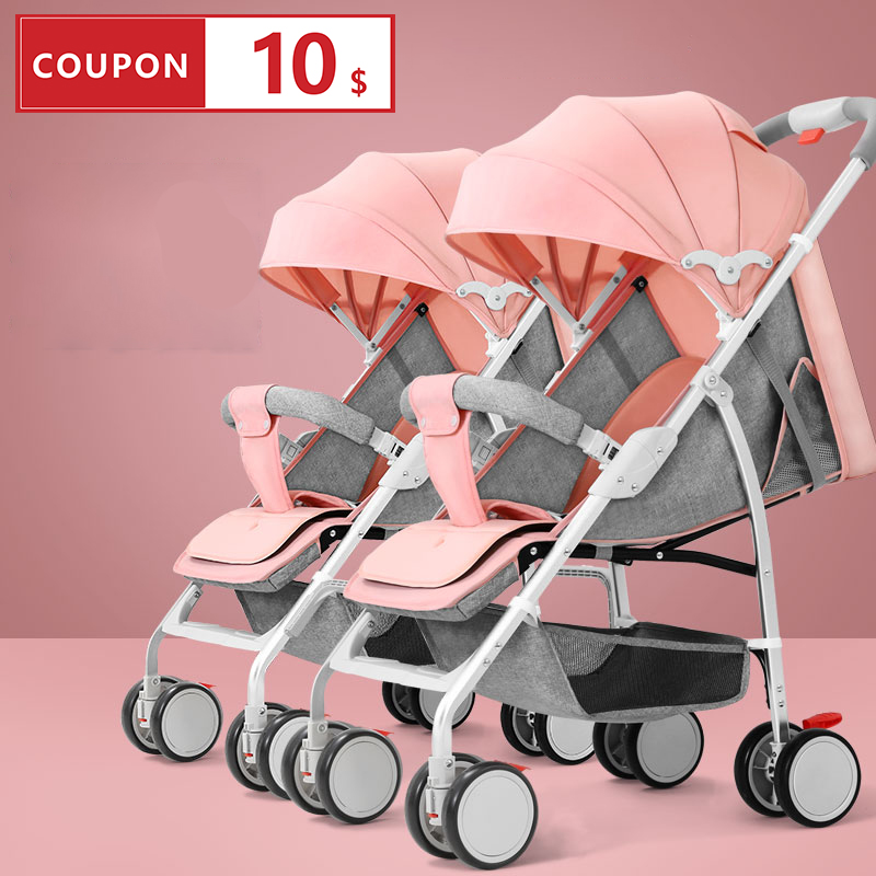Twin Baby Trolley Can Sit, Lie Down, Detachable, Ultra-light, Portable And Foldable Baby Trolley