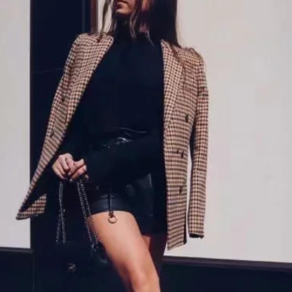 2019 New Women's   Basic     Jacket   Fashion Women Coat Retro Button Lattice Shoulder Pads Suit Coats Blouse Office Ladies Women Coats