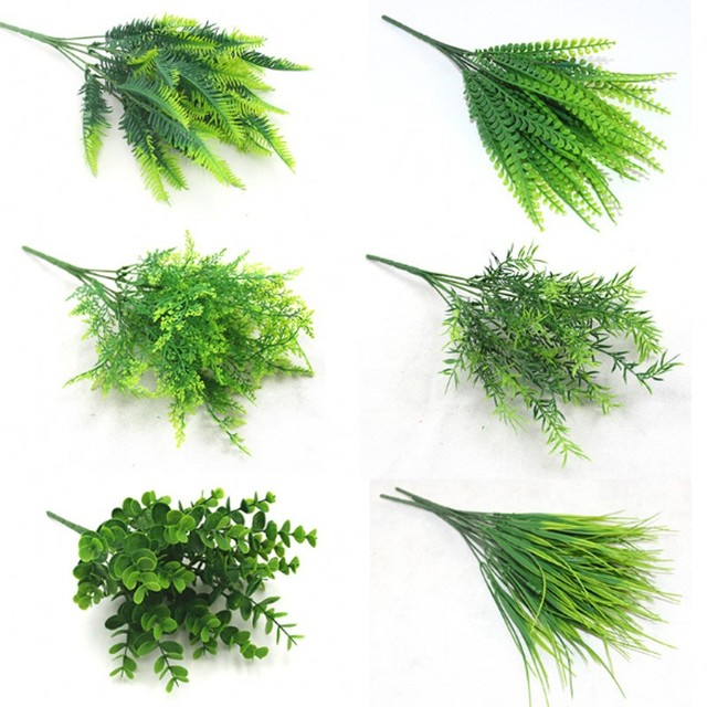7 Fork Artificial Plants Eucalyptus Grass Plastic Ferns Green Leaves Fake Flower Plant Wedding Home Decoration Table Decors 1