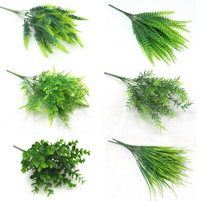 7 Fork Artificial Plants Eucalyptus Grass Plastic Ferns Green Leaves Fake Flower Plant Wedding Home Decoration Table Decors