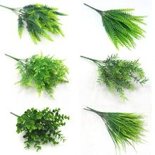 7 gabel Künstliche Pflanzen Eukalyptus Gras Kunststoff Farne Grüne Blätter Gefälschte Blume Pflanze Hochzeit Home Dekoration Tisch Dekore