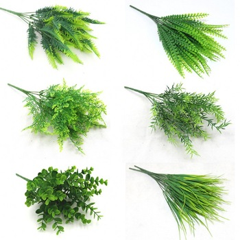 7 Fork Artificial Plants Eucalyptus Grass Plastic Ferns Green Leaves Fake Flower Plant Wedding Home Decoration Table Decors - discount item  14% OFF Festive & Party Supplies