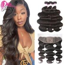 Beauty Forever mechones de pelo brasileño ondulado con encaje Frontal, 13x4, cabello humano Remy de alta relación con encaje Frontal