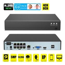 Detecção facial h.265 5 mb para rede de vigilância, gravador de vídeo poe nvr 4/8 canais câmera ip para hd 5mp/1080p onvif