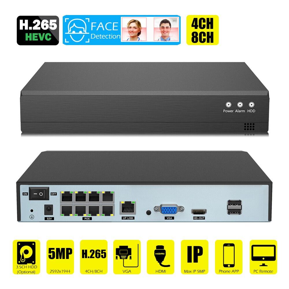 Gesicht erkennung H.265 8ch * 5MP 4ch/8ch PoE Netzwerk Video Recorder Überwachung PoE NVR 4/8 Kanal für HD 5MP/1080P IP Kamera ONVIF