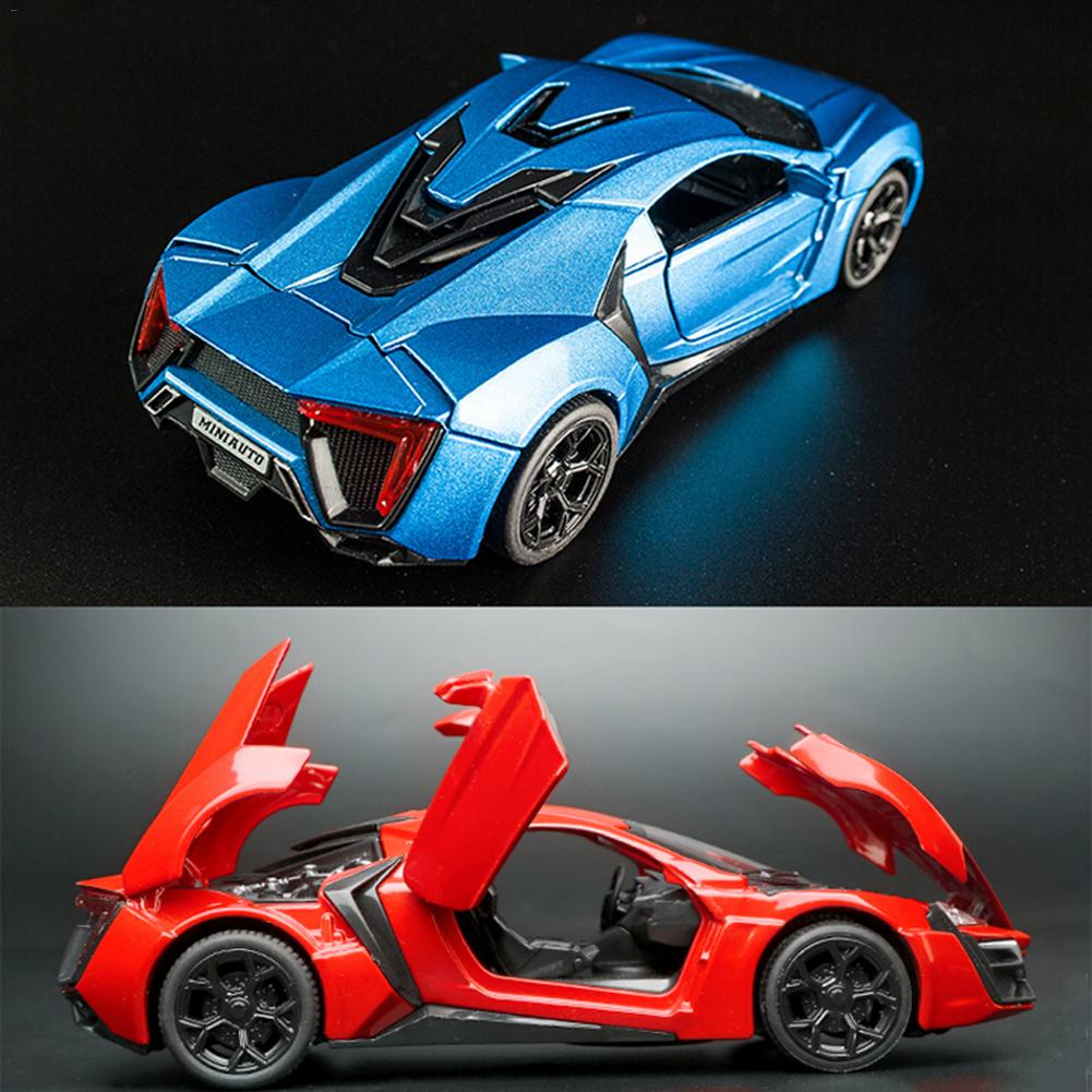 Popular <font><b>Car</b></font> Lycan Supercar Alloy Sports <font><b>Car</b></font> <font><b>Model</b></font> Diecast Sound Light Super Racing Lifting Tail <font><b>Car</b></font> Wheels Toys For Children image