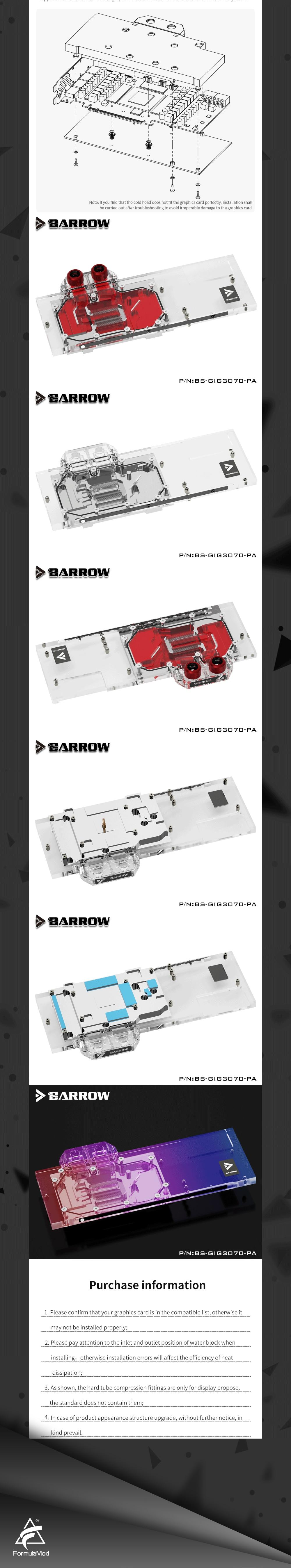 Barrow 3070 GPU Water Block for GIGABYTE Geforce RTX 3070 GAMING OC, Full Cover ARGB GPU Cooler, BS-GIG3070-PA