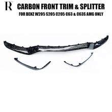 Lame de pare-choc avant en Fiber de carbone véritable, aileron avec séparateur latéral, pour Benz W205 C205 S205 C63 et C63s AMG 2015 – 2022
