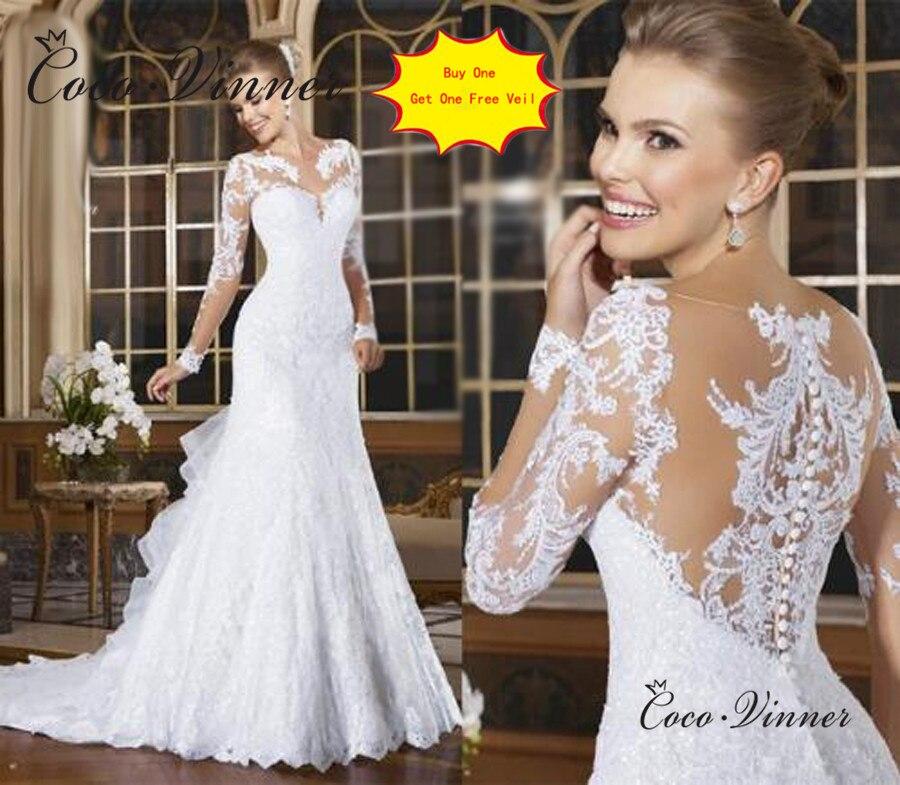 Sheer Neck Illusion Vestidos De Novia 2019 Lace Appliques Long Sleeve Wedding Dress Brazil Mariage Wedding Gowns W0004