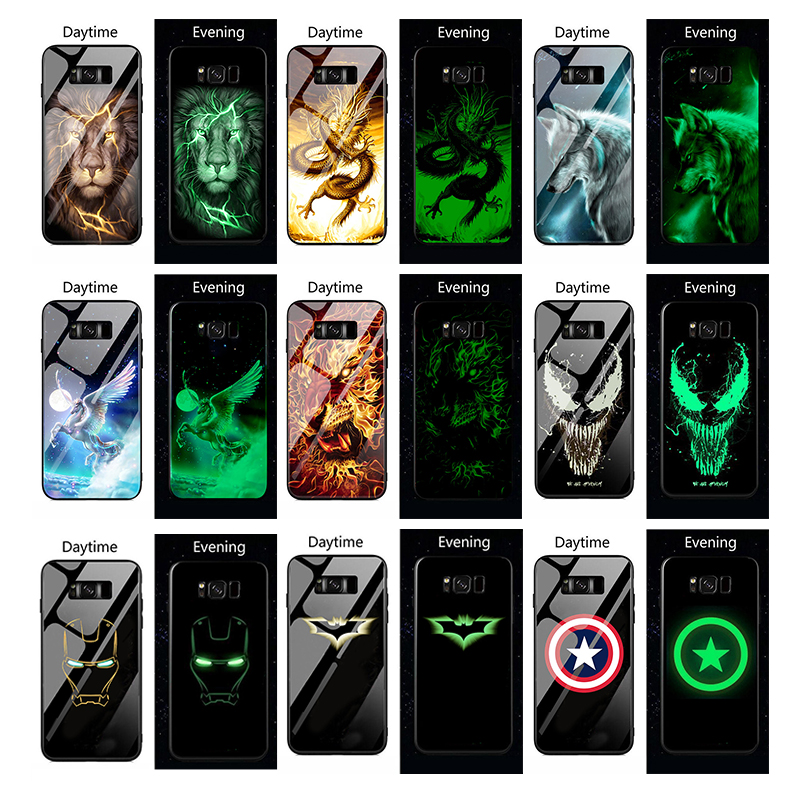 Wolf dragon lion Luminous Glass Case For Samsung Galaxy S20 S10 PLUS S20 Ultra Back Cover For Galaxy S20 Ultra Phone Cases Coque|Fitted Cases| - AliExpress