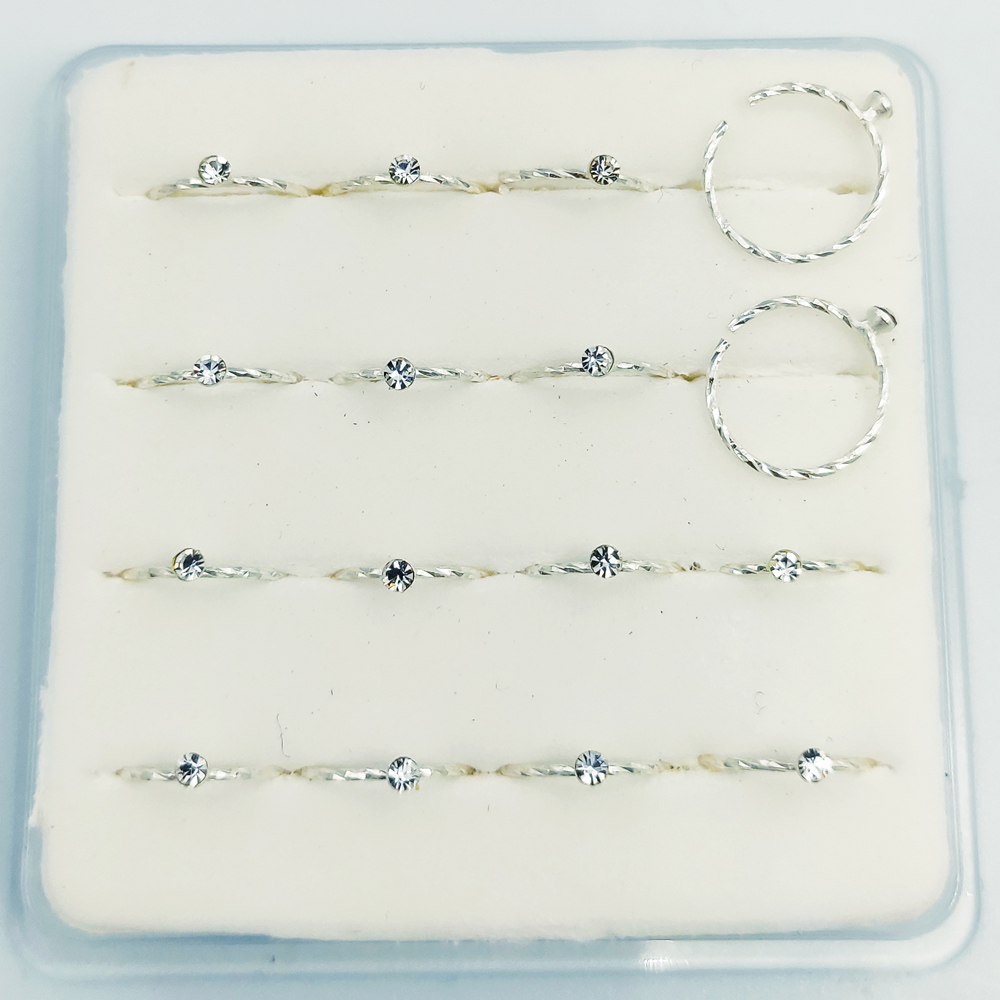 925 Sterling Silver Swil Twist Nose Hoop With Stone  Open Nose Ring Piercing Jewelry 16pcs/pack