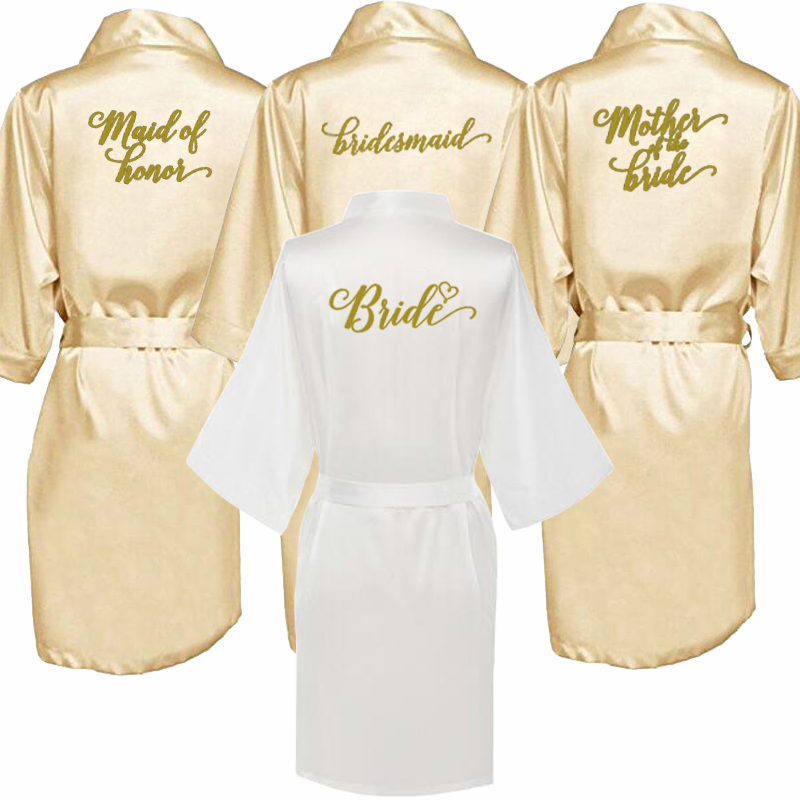 Sexy Champagne Robe Bride Kimono Satin Robe Women Bathrobe Wedding Robe Sister Mother Of The Bride Groom Bridesmaid Robes