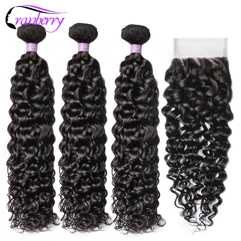 CRANBERRY Hair Remy Water Wave Bundles With Closure 4 Pcs/Lot 3 Bundles Peruvian Human Hair Bundles With Closure Natural Color