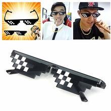 1 uds, mosaico, 8 bits, Thug Life, gafas de sol pixeladas para hombres y mujeres, gafas de sol de fiesta UV400, gafas Vintage, regalo Unisex, gafas de conductor de juguete
