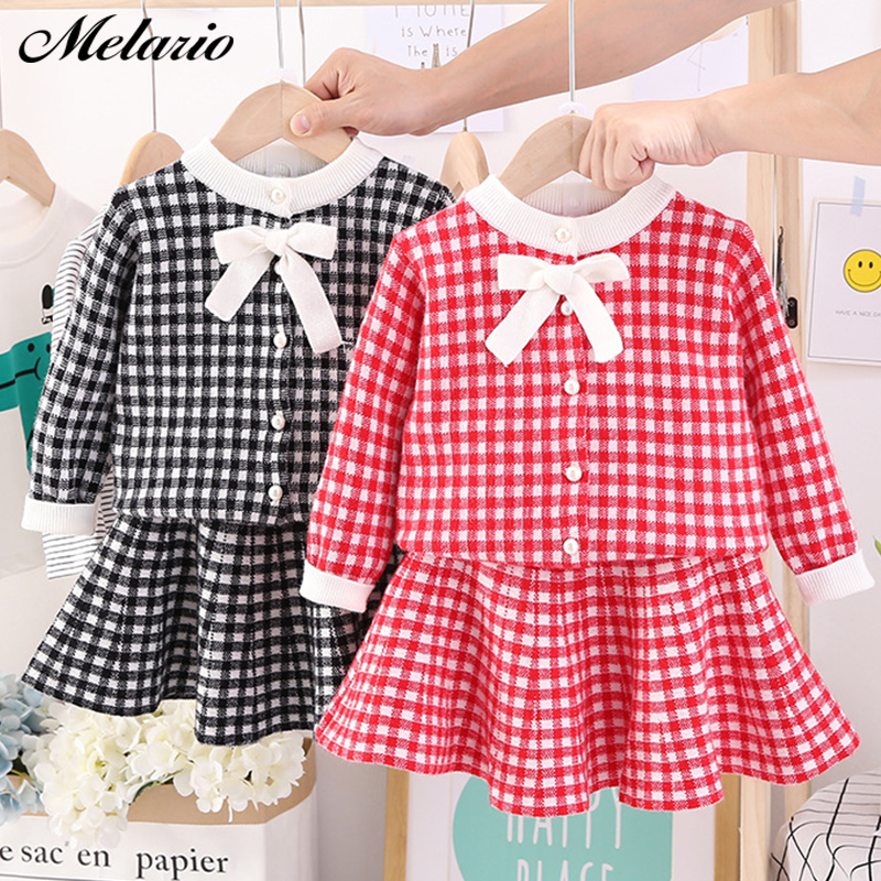 Autumn Winter Plaid print Sweater Dress Set Casual Girls Clothing Sets Girls Clothes Suit Children Clothes Kids Clothing Sets 13