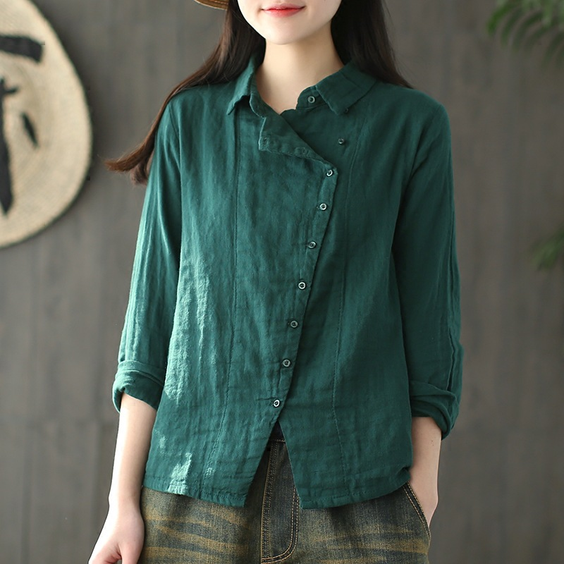 6 colors autumn and spring new Long Sleeve Shirt cotton and linen blouse for women tops