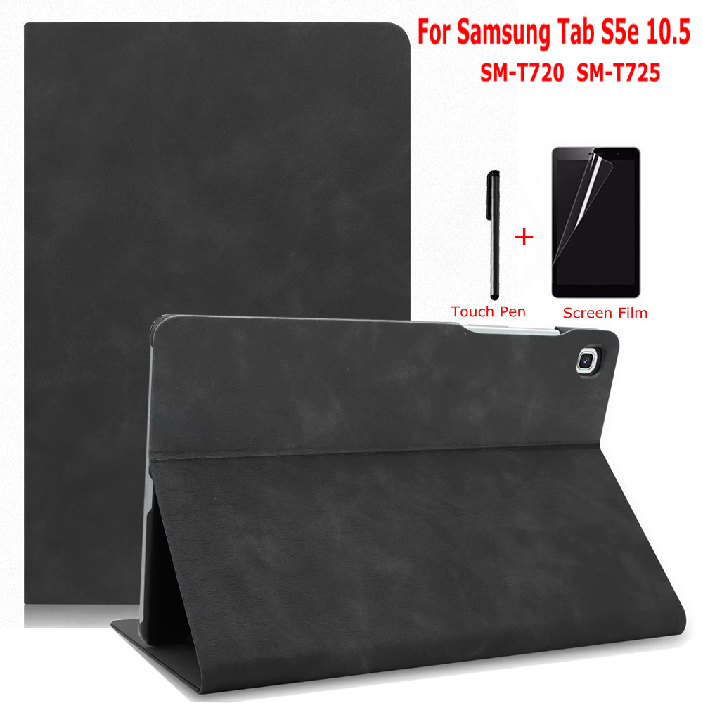 iBuyiWin Premium Smart PU Leather Case for Samsung Galaxy Tab S5e 10.5 SM-T720 SM-T725 10.5 Tablet Funda Capa Cover+Film+Pen image