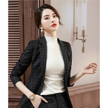 Plaid Casual Ladies Blazer Khaki Loose Simple Long Sleeve Suit Jacket Abrigos Vintage Office Women Blazer Large Size MM60NXZ