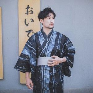 Tradycyjna japonia Kimono Yukata szlafrok męski męski szlafrok z paskiem letnia piżama
