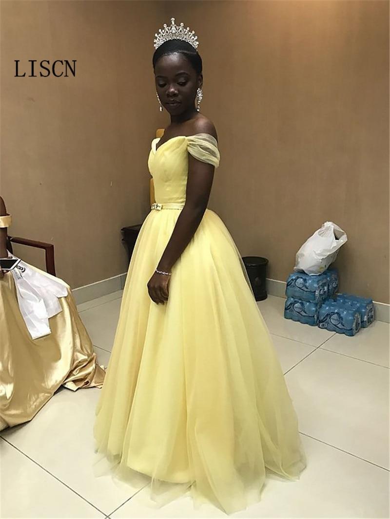 Drapé étage longueur Robe de soirée jaune Tulle hors de l'épaule Simple Robe de bal a-ligne perlée ceinture africaine formelle robes de soirée