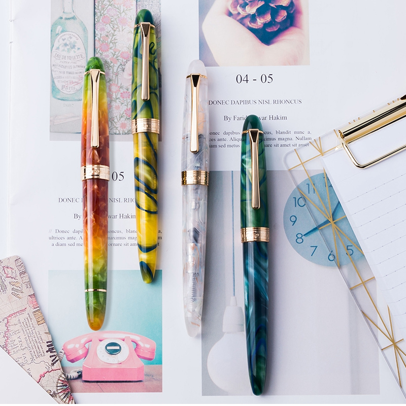 New Colorful LORELEI Resin Converter Filling Fountain Pen Golden Clip Fine Nib 0.5mm Ink With Pens Box Office Supplies Gift