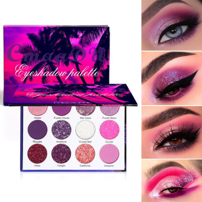 CmaaDu матовый блеск Тени для век Палитра голографическая блестящая фиолетовый розовый пигмент тени для век палитра макияж с эффектом