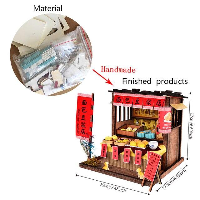 Poupée Miniature en bois avec meubles | Kits de, modèle de construction de Restaurant chinois, bricolage, jouet Puzzle, cadeau de Festival créatif