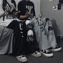 Calças teste padrão Japonês Harajuku mulher calças hip hop para as mulheres ampla perna da calça mulheres homens basculador calças femininas casual calças Oversize