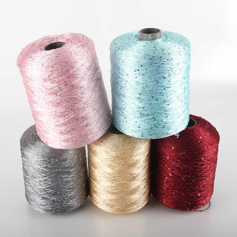 500g paillette 원사 장식 조각 양모 바늘 자연 구슬 레이스 넥타이 손 뜨개질을위한 매듭 원사 크로 셰 뜨개질 스레드 라인 스웨터 ZL50