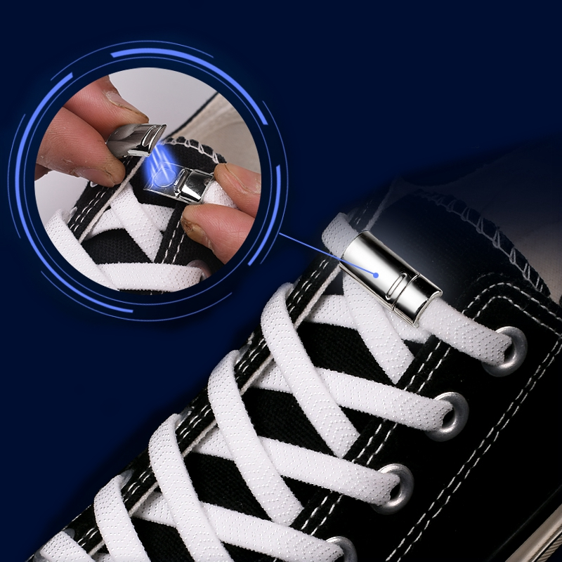 Magnetic Shoelaces Elastic 1 Second Locking Metal Flat No Tie Shoelace Off White Convenience Quick Sneakers Lazy Laces 1 Pair