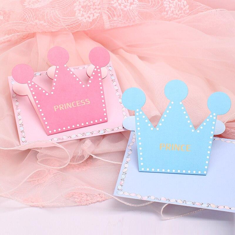 1pc Kawaii Prince Princess Bronzing Greeting Card Envelope Blue Pink Warm Cartoon Crown Child Thanks Birthday Card Gift Supplies