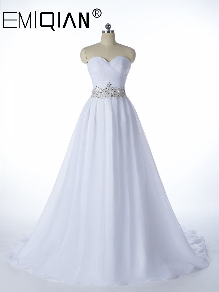 White Vestido De Noiva, 2020 NEW Designer A Line Bridal Gowns,Robe De Mariage Lace Up Strapless Wedding Dresses