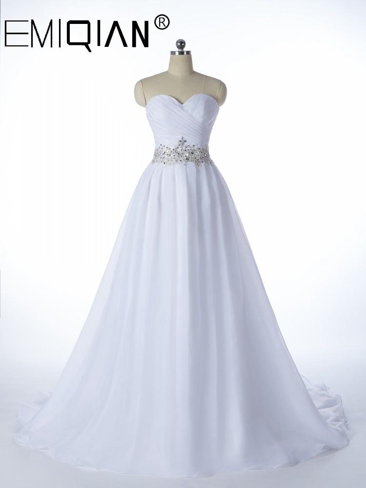 White Vestido De Noiva, 2020 NEW Designer A Line Bridal Gowns,Robe De Mariage Lace Up Strapless Wedding Dresses