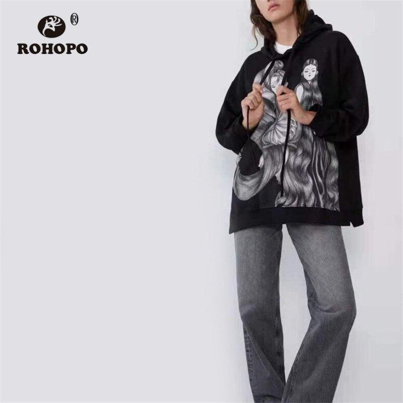 ROHOPO Hooded Front Printed Cartoon Girl Cotton Black Sweatshirt Long Sleeve Drawstring Hat Jersey Female Pullover Hoodies #2564