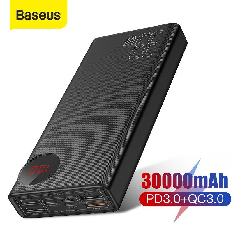 Cargador de batería externa portátil 30000 de carga rápida Baseus 3,0 mAh con cargador rápido de teléfono QC3.0 + PD3.0 Reloj Despertador LED de madera, reloj de mesa con Control de voz, Despertador Digital de madera, escritorio electrónico, relojes alimentados por USB/AAA, Decoración de mesa