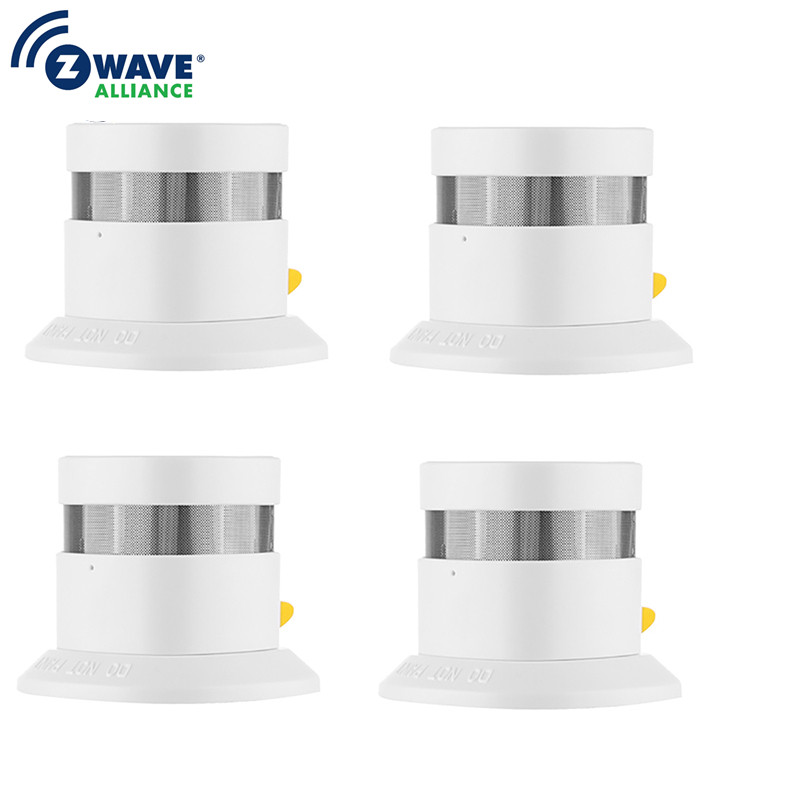 Free Shipping Z-wave 4PCS A Lot Smoke Sensor Smart Home Z-wave Smoke Fire Detector Power Battery Operated For Home Security
