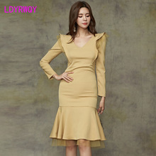 2019 autumn and winter new Korean temperament V-neck mesh stitching slim slimming ruffled fishtail dress