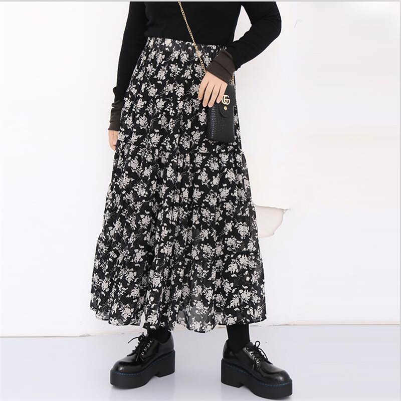 High Quality Woman Chiffon Skirt Floral Print Bohemian Beach Summer Skirts Fashion Clothes Plus Size Vestidos M-6XL 7XL