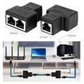 Elisona 1 to 2 Way LAN Ethernet Network Cable Splitter Adapter RJ45 Female Splitter Socket Connector Adapter For Laptop