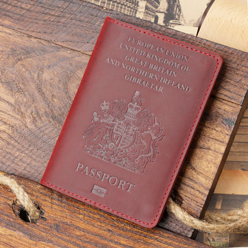 Retro Genuine Leather Passport Cover UK Travel Passport Case Men Retro Cover On The Passport