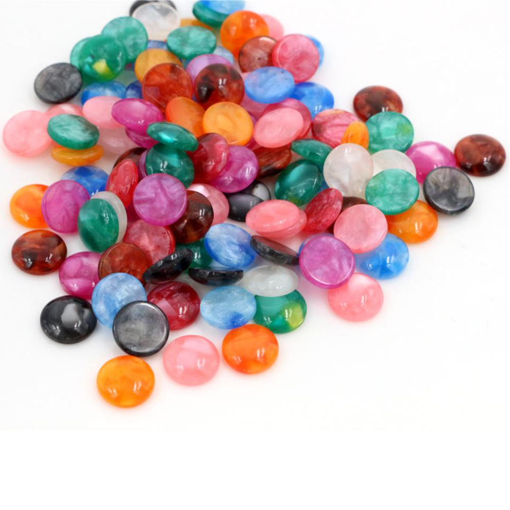 New Fashion 40pcs 10mm Mix Colors Built-in Shell Flat Back Resin Cabochons Cameo-V6-33