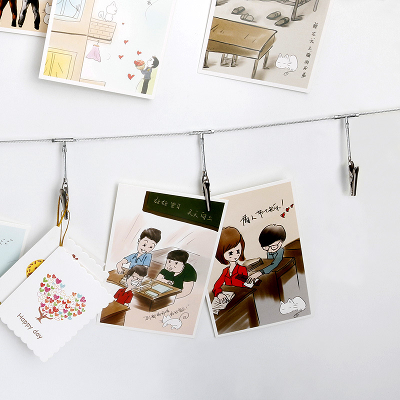 IS Flag Wall Hangers Accessories Creative Wire Rope Crocodile Metal Picture Portfolio Mounted Photo Folder Heart Notes Folder