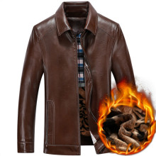 Free shipping winter genuine leather jacket men sheepskin brown coats shearling coat