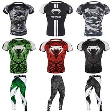 Gym Shirt Boxing Jerseys Training-Clothing Mma Shorts Tight-Compression Fitness Bodybuilding