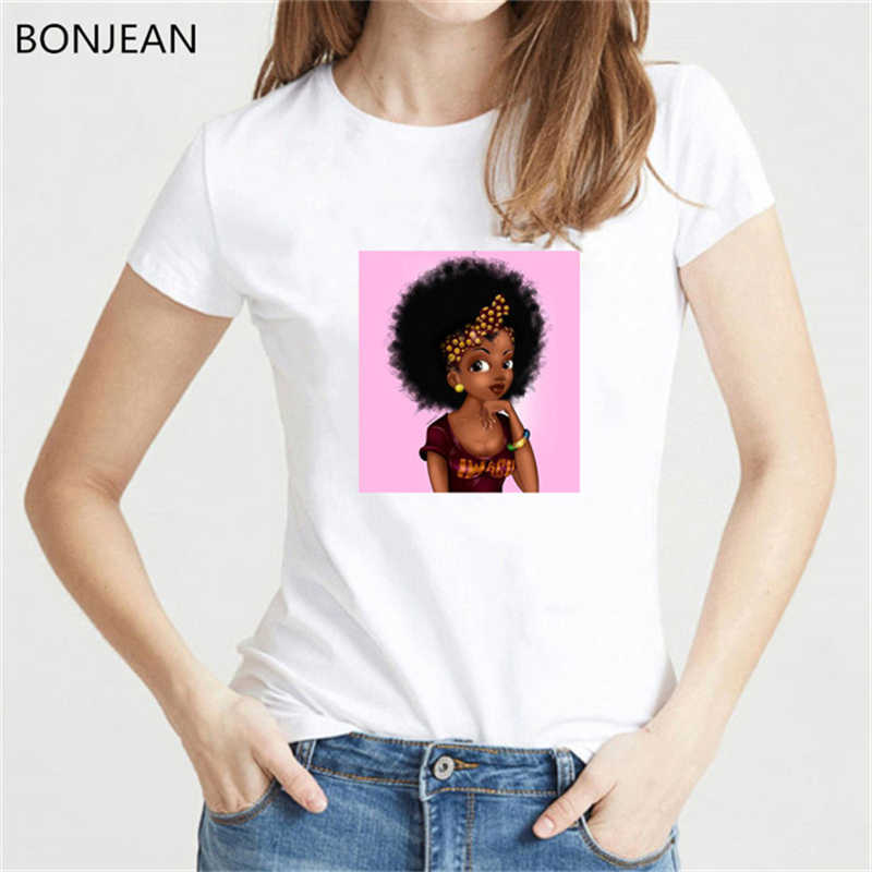 Melanin Poppin Kemeja Cantik Gadis Hitam Crown Cetak Kaos Wanita Vogue T Shirt Femme Feminis Tshirt Wanita Streetwear Atasan