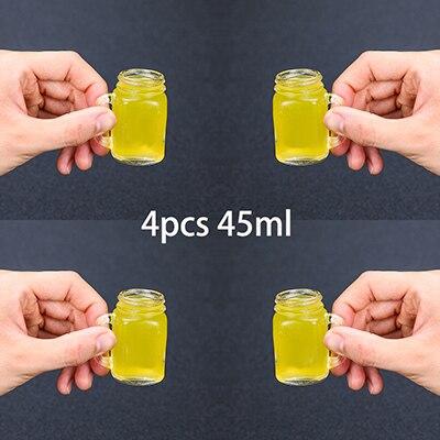 4 шт Мини банка чашка Мейсона стеклянный рюмка набор со стеклянными ручками, стакан для виски es/чашки - Цвет: 45ml Set of 4