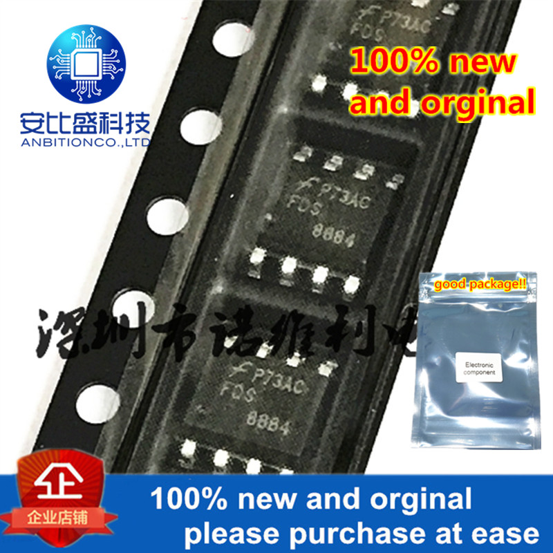 10pcs 100% New And Orginal FDS8884 8884 SOP-8 N-Channel PowerTrench MOSFET 30V, 8.5A, 23mOhm In Stock