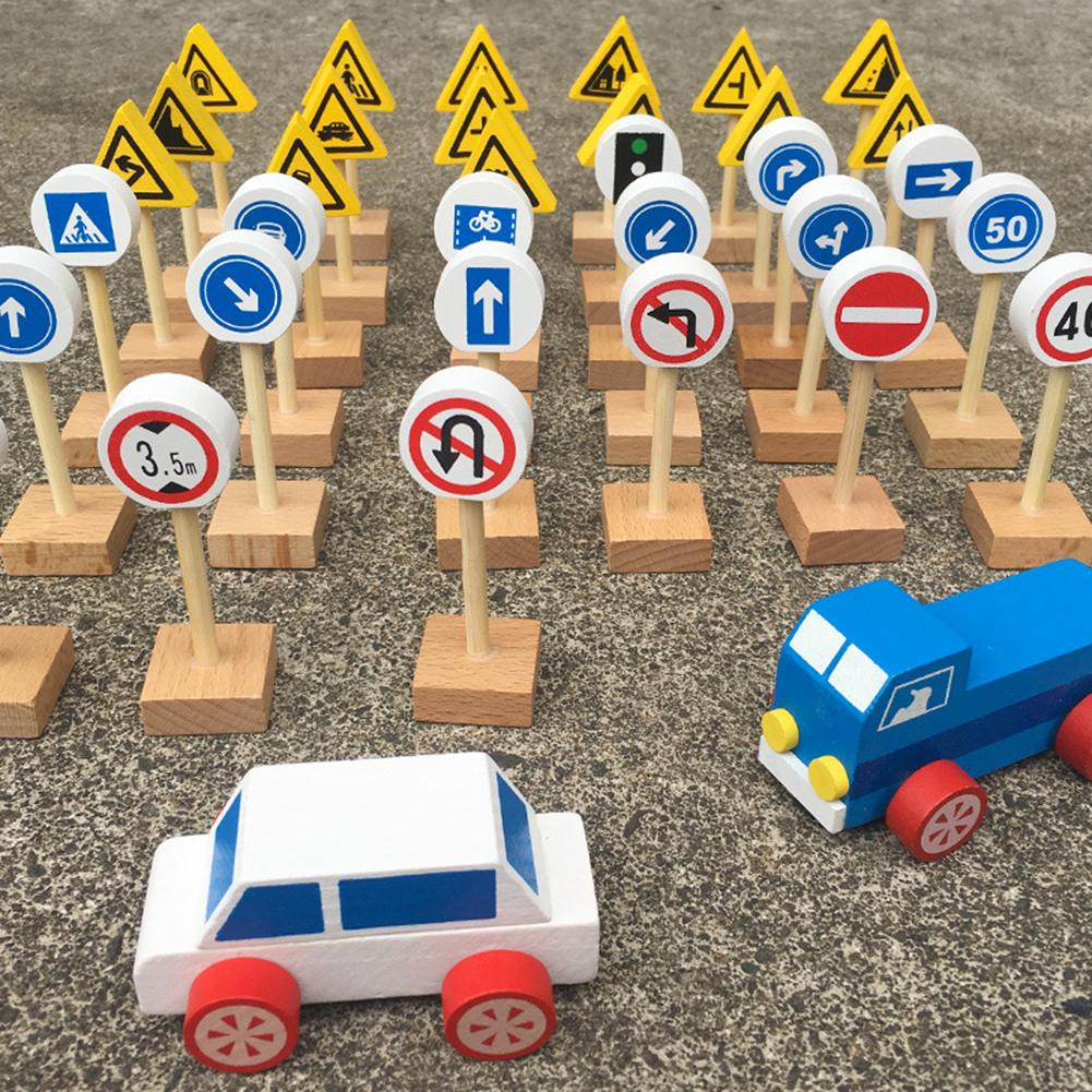Kids Wooden Street Road Traffic Signs Toy Car Blocks Pretend Play Game Educational Toys For Kids Birthday Gift