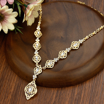 Sunspicems Exquisite Morocco Algeria Wedding Jewelry Indian Crystal Women Pendant Necklace Gold Color Arab Robe Caftan Bijoux 2